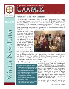 2015 Winter Newsletter