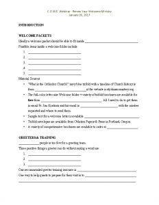 Renew Your Welcome Ministry 2017 handout